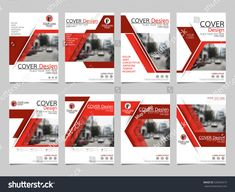 Red technology collection set cover business brochure vector design, Leaflet advertising abstract background, Modern poster magazine layout template, Annual report for presentation.