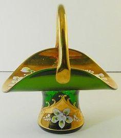 Bohemian Czech Art Glass Basket Gold Gild Enamel Hand Painted