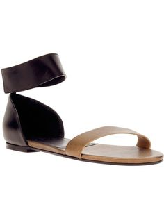 9561bd3ab0a Powder pink leather  Gala  sandal from Chloe featuring a wide strap across  the foot a contrasting black heel guard panel with a concealed fastening  ankle ...