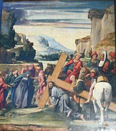 Andata al Calvario. Vestibolo del cappellone del Crocefisso in San Domenico Maggiore a Napoli.  Pedro Fernandez. 1513.