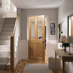 Get some inspiration for your next project. View some of our best selling designs of oak and walnut doors and see how they add a touch of style to any room. Oak Interior Doors, Interior Stairs, Walnut Doors, Oak Doors, Oak Stairs, Hallway Inspiration, Hallway Designs, House Doors, Bedroom Doors