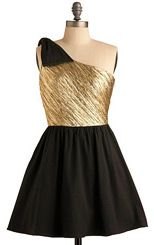 Black & gold 80's inspired dress by ModCloth
