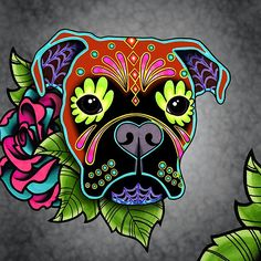 Boxer in Fawn - Day of the Dead Sugar Skull Dog