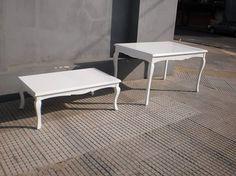Mesas estilo Reina Ana terminación laca poliuretánica madera de guindo Aprigliano Muebles