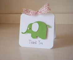 Pink and Green Elephant Thank You Cards Notes by CardinalBoutique, $74.00