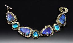 Bracelet | Laurie MacAdam.  Boulder Opal, Blue Topaz, Sterling Silver and 14 Karat gold