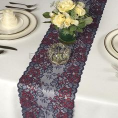 be2b00457086 Dark Red Burgundy and Navy Blue Floral Lace Table Runner Wedding Table  Runner - Limited stock