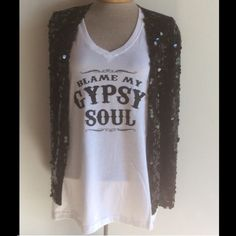 Gypsy soul V Neck t shirt White cotton v neck printed with  gypsy soul.  Regular lacks fit size up for a Relaxed fit PLEASE SELECT SIZE and CHECK OUT with the buy it button Too Pretty Tops Tees - Short Sleeve