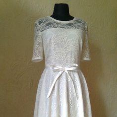Ivory Lace Dress Evening Dress Party Dress Short by DressNateMa