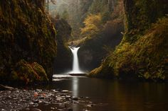 Punchbowl Falls along the Eagle Creek Trail (Oregon) - it has an otherworldly atmosphere ~ photo by Steven Michael