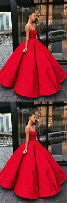 Charming Prom Dress,Red Prom Dresses,Ball Gown Prom Dress,Satin Prom Dress,Long Prom Gown #red #ballgown #prom #charming