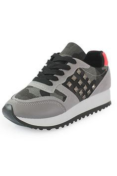 Cool Girl Studded Camo Sneakers