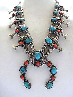 Beautiful-Vintage-NAVAJO-Sterling-Silver-Turquoise-Coral-SQUASH-BLOSSOM-NECKLACE