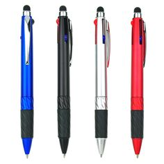 3 In 1 Multi Color Pens With Silicone Stylus Tip For Ipad Iphone Android