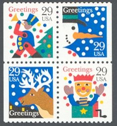 United States 1993 Contemporary Christmas Stamps - features a Jack-in-the-box, a reindeer, a snowman, and a toy soldier.