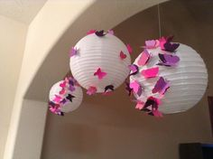 Set of 3, Pink and Purple Princess, butterfly lanterns, paper lantern, butterfly party, butterfly birthday package, butterfly decor