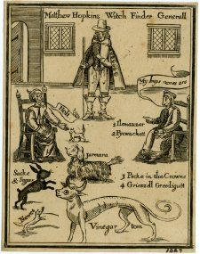 "Frontispiece to a tract entitled ""The Discovery of Witches"" illustrating a passage on pp. 2-3; Matthew Hopkins stands in the middle of a room with two old women sitting either side of him and five animals identified as their familiars. 1647"