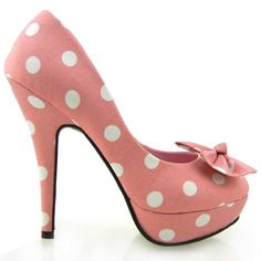 Show Story Baby Pink Two Tone Spot Polka Dots Bow Stiletto Platform High Heel Pump,LF30406BP41,10US,Baby Pink - #Shoes