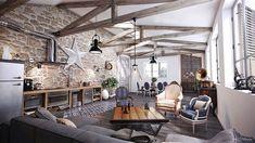 Arredare un open space cucina soggiorno rustico 02