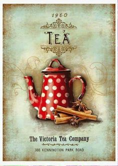 Lovely vintage wall hanging for a tea room. Vintage Labels, Vintage Tea, Vintage Cards, Vintage Paper, Printable Vintage, Vintage Coffee, Decoupage Vintage, Decoupage Paper, Images Vintage
