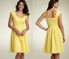 "Calvin Klein yellow polka dot dress worn by Quinn Fabray in Glee Season 1 episode ""Mash-Up"""