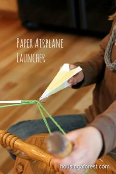 Paper Airplane Launcher ~ a few simple office supplies create one fast fly paper airplane. Paper Airplane Launcher ~ a few simple office supplies create one fast fly paper airplane. Rainy Day Activities, Craft Activities For Kids, Science Activities, Summer Activities, Indoor Activities, Projects For Kids, Games For Kids, Diy For Kids, Cool Kids