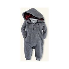 Layette Hooded Fleece Coverall ($40) ❤ liked on Polyvore featuring baby, baby boy, baby clothes, baby stuff y kids