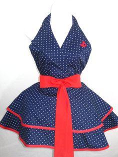 Sexy Polka Dot Navy and Red Pin Up Girl Sailor Costume Apron. $60.00, via Etsy.