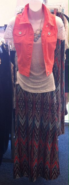 This printed maxi skirt goes perfect with this coral jean vest. this skirt for my birthday. Chico Dresses, Dress Barn Dresses, Modest Dresses, Modest Outfits, Modest Fashion, Cute Outfits, Maxi Outfits, Fashion Outfits, Fashion Ideas