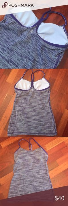 SALE Lululemon Purple and White Power Y tank This top is in great condition! The tag was cut out because it was itchy. It has only been worn a couple of times and is tight fitting. Great for any work out! lululemon athletica Tops Tank Tops