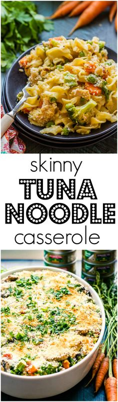 "This Skinny Tuna Noodle Casserole doesn't taste ""skinny"". Extra veggies and delicious @Genova tuna make a delicious casserole everyone will rave over! #ad"