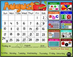 Smartboard Calendar Sunny Day for Circle/Meeting/Carpet Time Common Core from…