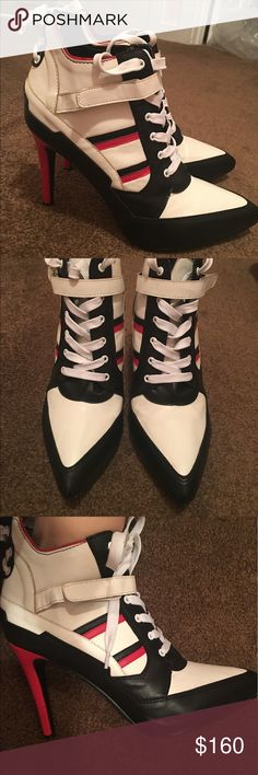 ISO: Harley Quinn Sneaker Heels Size 9 - Hot Topic IF YOU HAVE A SIZE 9 AND WANT TO SELL THEM LET ME KNOW!!  I have a size 10 here and don't really want to part with them unless someone is willing to give me a size 9.   They are from hot topic, and completely sold out. Only worn once for Halloween. Hot Topic Shoes Heels
