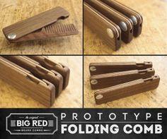 Big Red Beard Comb prototype No.22 Double Deuce. #beardcomb #foldingcomb