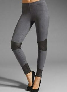 Leather Knee Patch Faux Suede Leggings,  Bottoms, Ladakh  Leather Leggings  Knee Patch Leggings, Chic
