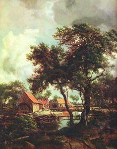 Meindert Hobbema - Een watermolen (1692)