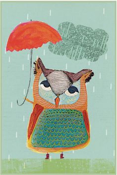 Mixed Media Owl Illustration Print of Owl por LovelandsLovelies
