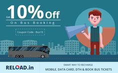 Online #BusTicketsBooking to #Hyderabad, #NewDelhi, #Bangalore, #Pune, Chennai across India and get 10% #discount fromwww.Reload.in Visit @ www.reload.in/bus-tickets/