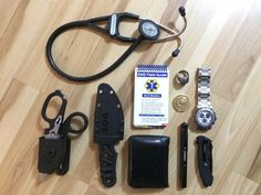 My EMT Everyday Carry - This is my EDC for my job as an EMT. The Ring and Coin are personal and not Tools,they are reminders. Edc Essentials, Firefighter Emt, Emergency Medical Technician, 1st Responders, Edc Tactical, Emergency Medicine, Edc Everyday Carry, Edc Gear, Camp Gear