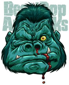 Mascot design for my rebranding as BeastPop ArtWorks. Pen & Ink with Photoshop.