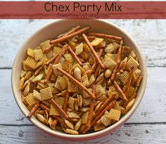 Looking for a classic party snack or appetizer everyone will love? You must try our Chex Party Mix recipe! This is a sponsored article written by Smart Recipes Appetizers And Snacks, Yummy Appetizers, Lunch Recipes, Desserts, Chex Party Mix Recipe, Healthy Protein Bars, Side Recipes, Family Recipes, Salty Snacks