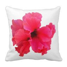 Pink Hibiscus Flower Picture Throw Pillow Cushion.
