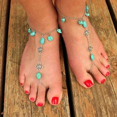 Check out this item in my Etsy shop https://www.etsy.com/listing/235646106/chain-barefoot-sandals-turquoise-beading