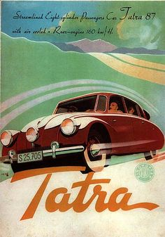 Tatra T87 Brochure  A brochure (produced when Czechoslovakia was under Nazi occupation) for Hans Ledwinka's magnificent T87 car. V8 aircooled aerodynamic saloon car.