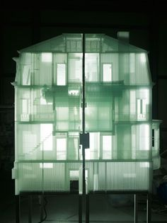 Do Ho Soh art installation; Home Within Home; Transparent polyester fabric over wire frame; fabric structure.