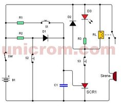 5v usb car charger circuit with mc34063 stepdown dc dc converter burglar alarm using thyristor and relay this simple burglar alarm uses a thyristor and a relay as output device to activate a buzzer or a siren ccuart Choice Image