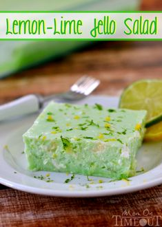 This delicious Lemon Lime Jello Salad is made with cottage cheese and pineapple - sooo good! | MomOnTimeout.com