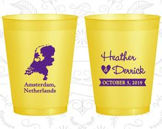 Netherlands Wedding, Promotional Frosted Party Cups, Destination Wedding, Yellow Frosted Cups, Amsterdam Wedding (197)