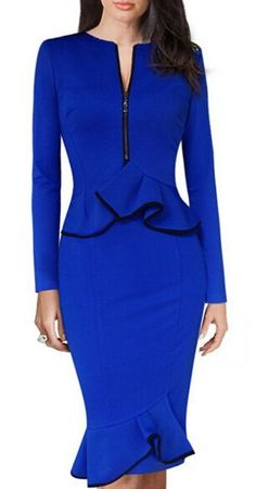 V-Neck Long Sleeve Waist Flounced Bodycon Midi Dress