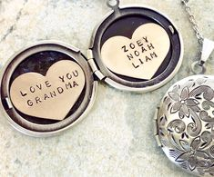 We Love you grandma Locket necklace, Mother's Day gift for grandma, name necklace, Personalized Jewelry, heart locket kids name The antiqued floral motif on thi Heart Locket Necklace, Bridal Necklace, Name Necklace, Personalized Mother's Day Gifts, Personalized Jewelry, Gifts For New Moms, New Baby Gifts, Or Antique, Antique Silver